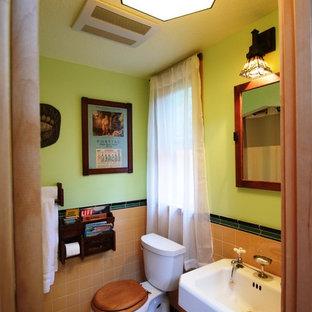 Foto de cuarto de baño con ducha, rural, de tamaño medio, con sanitario de dos piezas, baldosas y/o azulejos verdes, baldosas y/o azulejos naranja, baldosas y/o azulejos de cerámica, paredes verdes, suelo con mosaicos de baldosas y lavabo con pedestal