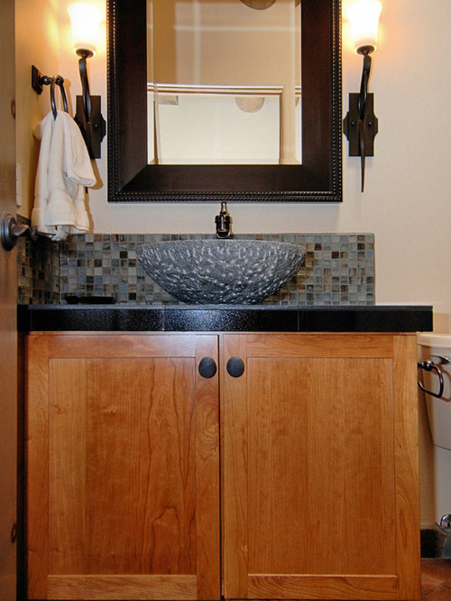 Powder Room Photo In Portland With A Vessel Sink