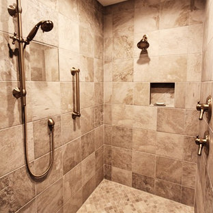 Bathroom - huge traditional master beige tile and ceramic tile ceramic floor and beige floor bathroom idea in Charlotte with an undermount tub