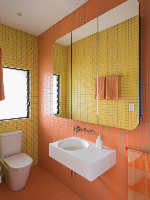 Bathroom Design Ideas, Remodels & Photos with Black Cabinets and Orange Tile