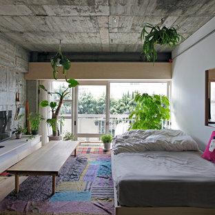 Idéer för att renovera ett litet eklektiskt huvudsovrum, med grå väggar och ljust trägolv