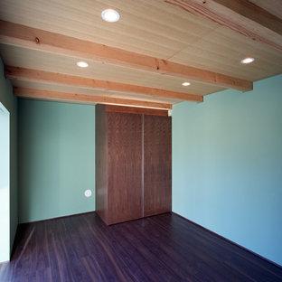 Diseño de dormitorio principal, moderno, de tamaño medio, sin chimenea, con paredes verdes, suelo de madera oscura, marco de chimenea de yeso y suelo negro