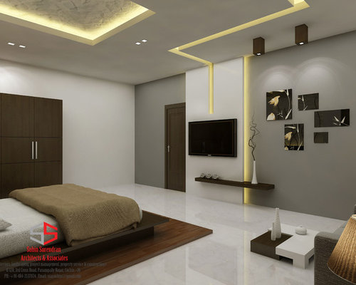 Gypsum houzz for Bedroom wallpaper designs india