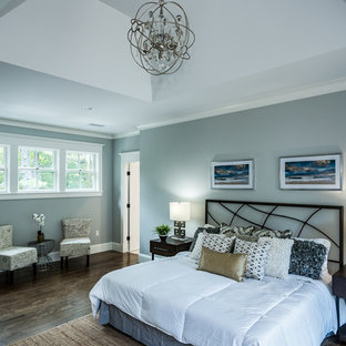 Design ideas for a large contemporary master bedroom in Boston with grey walls, dark hardwood floors, no fireplace and brown floor.