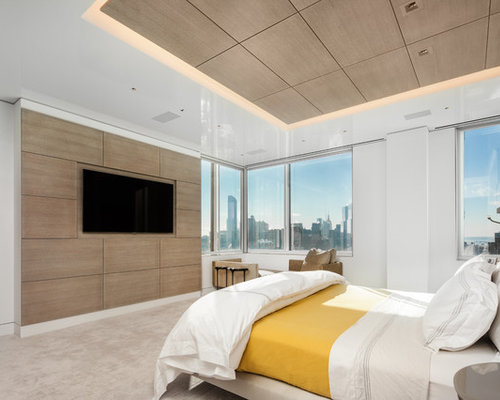 example of a trendy bedroom design in new york with white walls and carpet