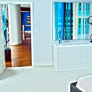 Immagine di una camera matrimoniale minimalista di medie dimensioni con pareti blu e moquette