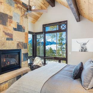 Diseño de dormitorio principal, rústico, con paredes blancas, estufa de leña y marco de chimenea de piedra