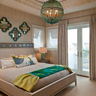 Inspiration For A Contemporary Carpeted And Beige Floor Bedroom Remodel In Miami With Walls