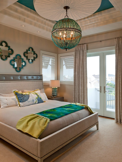 Inspiration For A Contemporary Bedroom Remodel In Miami With Beige Walls,  Carpet And Beige Floors