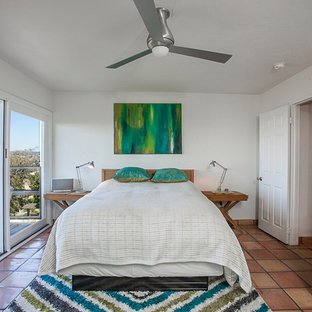 Inspiration for a midcentury master bedroom in Orange County with white walls and terra-cotta floors.
