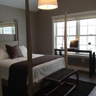Modelo de habitación de invitados minimalista con paredes grises y suelo de corcho