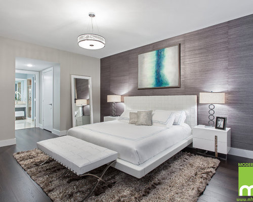 Inspiration For A Large Modern Master Bedroom Remodel In Miami With Multicolored Walls