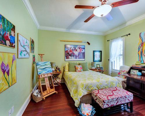 Elegant master dark wood floor and red floor bedroom photo in Miami with  green walls. Artistic Bedroom   Houzz