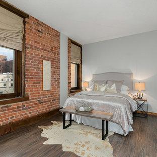 Eclectic Dark Wood Floor And Brown Bedroom Photo In Dc Metro With Gray Walls