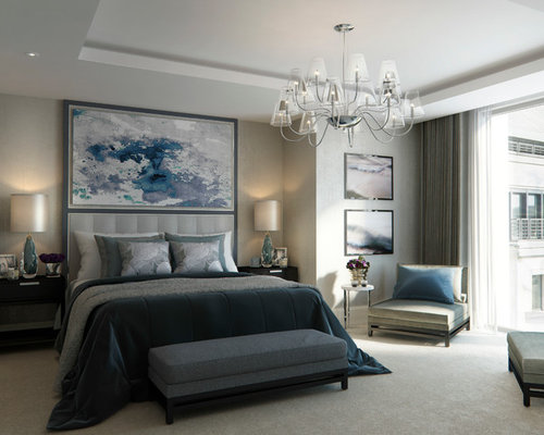 Contemporary master bedroom in london with carpet and grey walls
