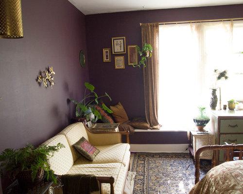 chambre victorienne avec un mur violet photos et id es d co de chambres. Black Bedroom Furniture Sets. Home Design Ideas