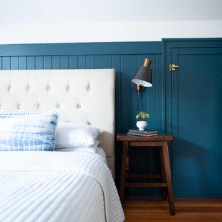 Modelo de dormitorio principal, tradicional, de tamaño medio, sin chimenea, con paredes azules, suelo de madera en tonos medios y suelo marrón