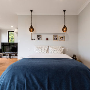 Photo of a large contemporary master bedroom in Sydney with grey walls, vinyl floors and brown floor.