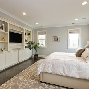 Bedroom - mid-sized traditional master dark wood floor and brown floor bedroom idea in Chicago with gray walls and no fireplace