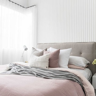 Design ideas for a contemporary master bedroom in Sydney with white walls.