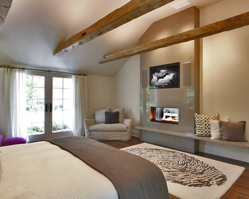 Contemporary Bedroom Idea In New York With Beige Walls, Dark Wood Floors  And A Two Part 53
