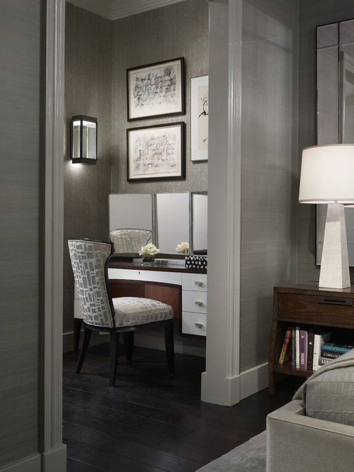 Transitional Dark Wood Floor Bedroom Idea In Chicago With Gray Walls Part 68
