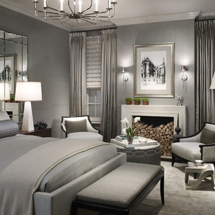 Inspiration For A Transitional Bedroom Remodel In Chicago With Gray Walls  And A Standard Fireplace