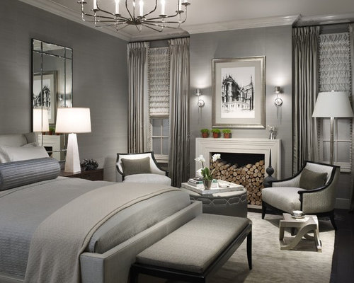Merveilleux Inspiration For A Transitional Bedroom Remodel In Chicago With Gray Walls  And A Standard Fireplace