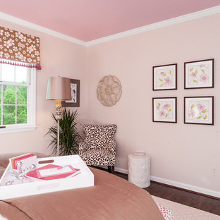 Mid-sized elegant carpeted and beige floor bedroom photo in Baltimore with pink walls