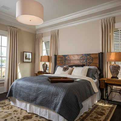 Example of a classic bedroom design in Atlanta with beige walls