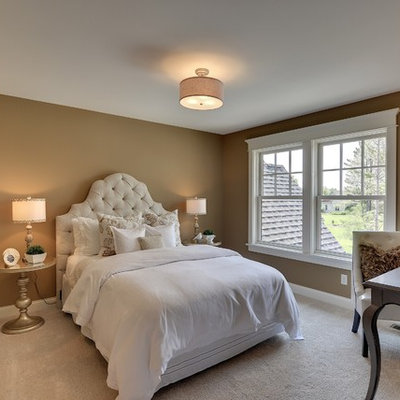 Inspiration for a timeless carpeted bedroom remodel in Minneapolis with beige walls