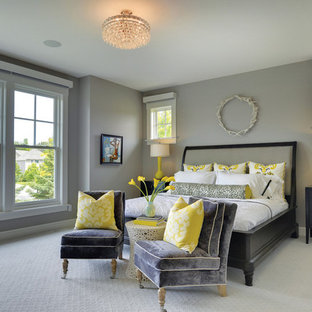 Design ideas for a classic bedroom in Minneapolis with grey walls and carpet.
