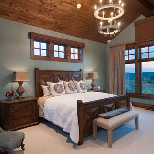 Example of a classic master carpeted bedroom design in Salt Lake City with gray walls