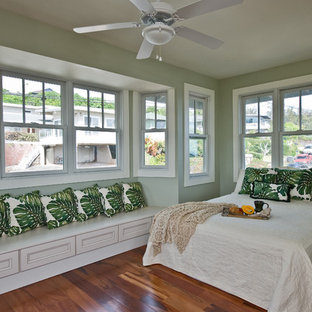 Inspiration For A Tropical Medium Tone Wood Floor Bedroom Remodel In Hawaii With Green Walls