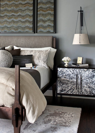 Transitional Bedroom by Bernard Andre Photography