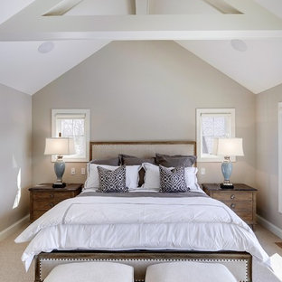 Example of a transitional carpeted bedroom design in Minneapolis with beige walls