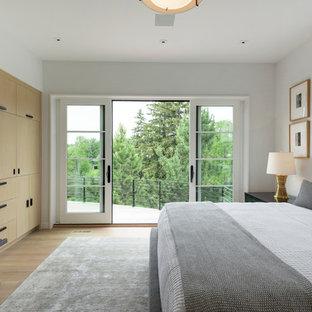 Diseño de dormitorio principal, moderno, extra grande, con paredes blancas y suelo de madera clara