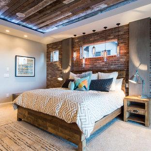 ソルトレイクシティのインダストリアルスタイルのおしゃれな寝室 (赤い壁、カーペット敷き) のレイアウト