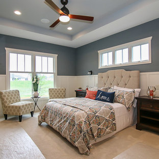 Foggy Day Example Of A Large Clic Master Carpeted Bedroom Design In Milwaukee With Blue Walls