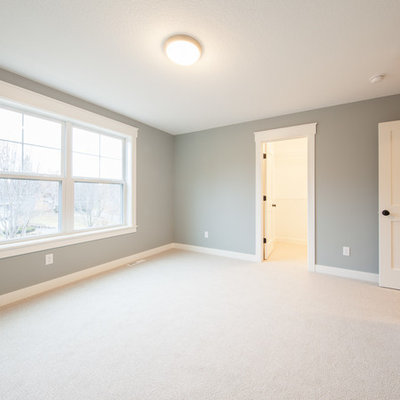 Bedroom - mid-sized transitional master carpeted and beige floor bedroom idea in Minneapolis with gray walls
