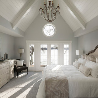 Example of a large transitional master carpeted and gray floor bedroom design in Minneapolis with gray walls and no fireplace
