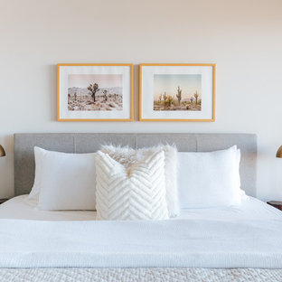 Small Trendy Bedroom Photo In San Francisco With Beige Walls