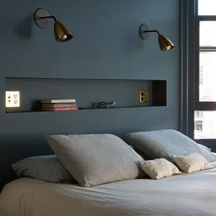 サンフランシスコの中サイズのエクレクティックスタイルのおしゃれな主寝室 (青い壁、暖炉なし、無垢フローリング、茶色い床)