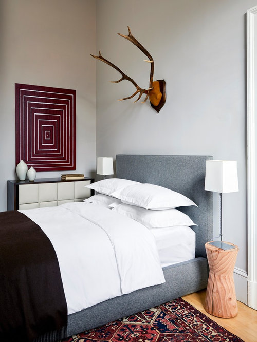 Inspiration For A Small Scandinavian Light Wood Floor Bedroom Remodel In  Providence With Gray Walls