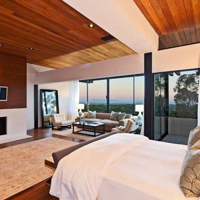 Bedroom - modern dark wood floor bedroom idea in Los Angeles with a standard fireplace