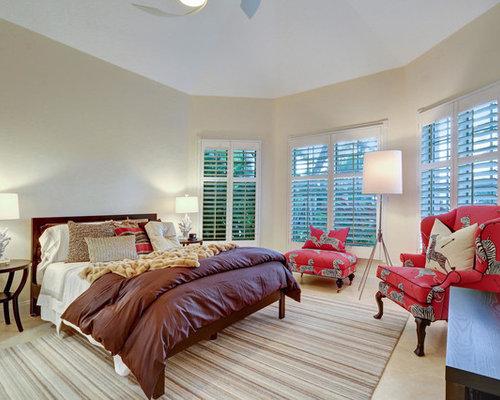 Example Of A Transitional Beige Floor Bedroom Design In Miami With Beige  Walls