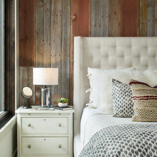 Bedroom - rustic master carpeted and gray floor bedroom idea in Denver with multicolored walls
