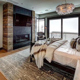 ソルトレイクシティの広いコンテンポラリースタイルのおしゃれな主寝室 (ベージュの壁、淡色無垢フローリング、標準型暖炉、漆喰の暖炉まわり、ベージュの床)