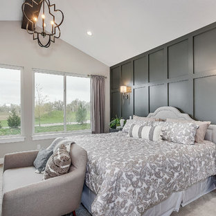 Example of a large classic master carpeted and gray floor bedroom design in Wichita with gray walls and no fireplace
