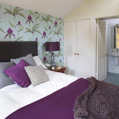Bedroom - contemporary bedroom idea in Dublin with multicolored walls